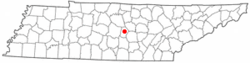 Location of Woodbury, Tennessee