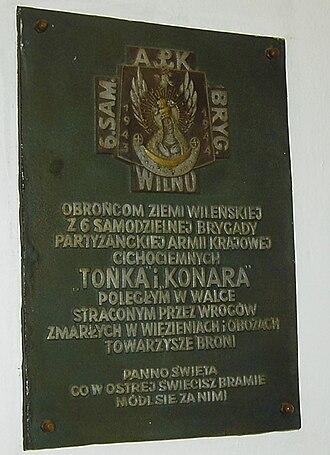 Władysław Łukasiuk - A commemorative plaque for the 6th Wilno Brigade, led for a time by Władysław Łukasiuk