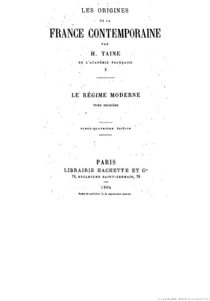 File:Taine - Les Origines de la France contemporaine, t. 10, 1904.djvu