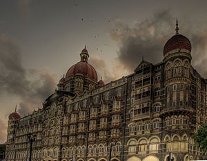 The Taj Mahal Palace Hotel - A view of hotel with smoke during the attack