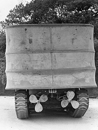 DD tank - Rear view of a Sherman DD with its screen raised, showing the twin propellers in their lowered position