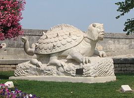 Tarasque sculputre near King René's castle in Tarascon