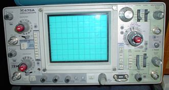 Oscilloscope - A Tektronix model 475A portable analog oscilloscope, a typical instrument of the late 1970s