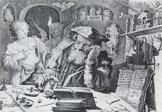 Adriaen Matham - Image: Temptress woman, devil, alchemist, by Andriaen Matham