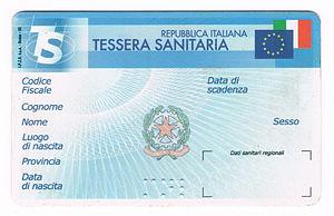 Healthcare in Italy - An Italian National Health Service card.