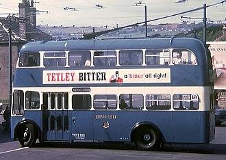 Tetley's Brewery - Tetley's Bitter advertised on a Bradford Trolleybus in 1970.