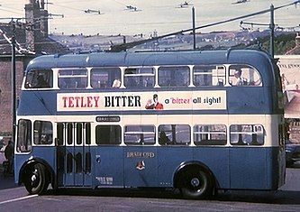 Tetley Bitter Advert on Bradford Trolleybus Cropped