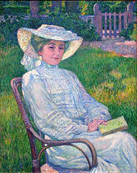 Lady in White - Portrait of Mrs. Theo van Rysselberghe Theo van Rysselberghe - La dame en blanc.JPG