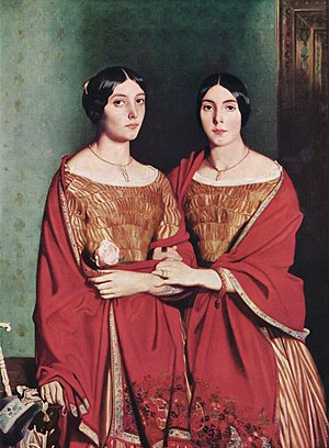 Aline Chassériau - The Two Sisters, 1843. Oil on canvas, 180 x 135 cm. Chassériau's later portrait of Adèle and Aline together.