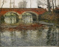 THAULOW Frits (1847-1906) French river landscape with a stone bridge