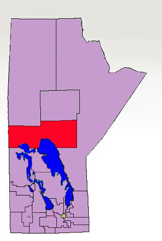 The Pas (electoral district) - The 1998-2011 boundaries for The Pas highlighted in red