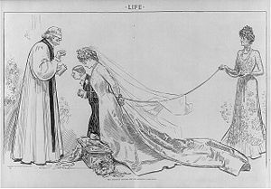 Arranged marriage - The Ambitious Mother and the Obliging Clergyman - a cartoon by Charles Dana Gibson caricaturing arranged marriages in early 20th century United States. A parent insists their daughter marry a man on grounds of wealth or aristocratic title, without considering the girl's wishes. The clergyman is caricatured officiating the marriage with a blindfold.