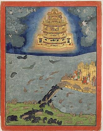 Vimana - The Pushpaka vimana flying in the sky.