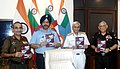 The Chairman Chiefs of Staff Committee & Chief of the Naval Staff, Admiral Sunil Lanba releasing the 'Joint Training Doctrine Indian Armed Forces - 2017', in New Delhi.jpg