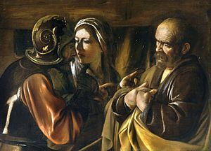 Denial of Peter - The Denial of Saint Peter by Caravaggio (1610)
