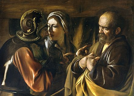 The Denial of Saint Peter, by Caravaggio, c. 1610 The Denial of Saint Peter-Caravaggio (1610).jpg