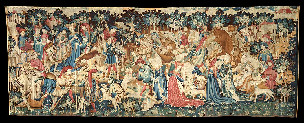 Boar and Bear Hunt, one of the Devonshire Hunting Tapestries, 1430-1450, V&A. 380 x 1020 cm, weight 50 kg. The Devonshire Hunting Tapestries; Boar and Bear Hunt - Google Art Project.jpg
