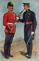 Private and Officer of the Duke of Wellington s Regiment  1880s