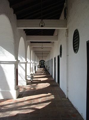 The Hacienda (Milpitas Ranchhouse) - The rear corridor along the west side echoes similar ones at Mission San Antonio de Padua which is less than a mile away