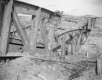 Blythswood Rifles - Destroyed bridge over the Canal du Nord near Mœuvres.
