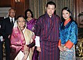The King of Bhutan, His Majesty Jigme Khesar Namgyel Wangchuck and the Bhutan Queen, Her Majesty Jetsun Pema Wangchuck meeting the President, Smt. Pratibha Devisingh Patil, at Rashtrapati Bhawan, in New Delhi.jpg