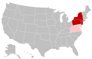Mid-Atlantic states - States most commonly included in the Mid-Atlantic are shaded in dark red, while states included in other regions as well are shaded in pink