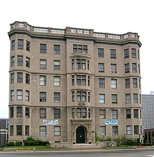 historic apartment building in Detroit, Michigan, USA