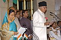 The President, Smt. Pratibha Devisingh Patil administering the oath as Cabinet Minister to Dr. Farooq Abdullah, at a Swearing-in Ceremony, at Rashtrapati Bhavan, in New Delhi on May 28, 2009.jpg