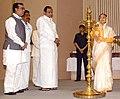 The President, Smt. Pratibha Devisingh Patil lighting the lamp to inaugurate the Indira Gandhi Rajbhasha Award 2007-08 presentation ceremony, on the occasion of 'Hindi Divas', in New Delhi on September 14, 2009.jpg