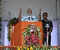 The Prime Minister, Shri Narendra Modi addressing at the foundation stone laying ceremony of the AIIMS Gorakhpur & for the revival of Gorakhpur Fertilizer plant, at Sports Ground, FCI, in Gorakhpur, Uttar Pradesh (1).jpg