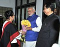 The Prime Minister, Shri Narendra Modi being welcomed by the Governor of Odisha, Shri. S.C. Jamir and his wife, on his arrival at Raj Bhavan, in Bhubaneswar, Odisha on February 06, 2016.jpg