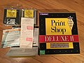 The Print Shop Deluxe II box diskettes and store receipt.jpg
