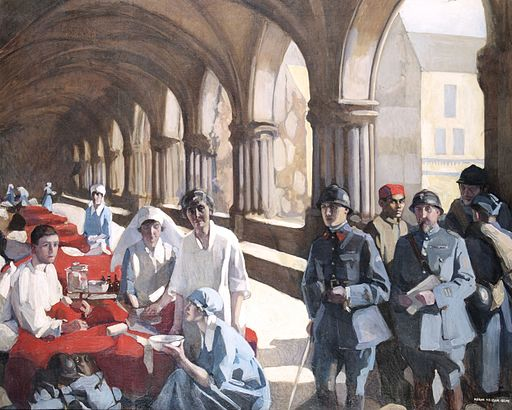 The Scottish Women's Hospital - in the Cloister of the Abbaye at Royaumont. Dr. Frances Ivens inspecting a French patient. Art.IWMART3090