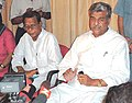 The Union Minister of State for Home , Shri Sriprakash Jaiswal, addressing a press Conference at Guwahati Airport after visiting the flood affected area of Goalpara on 13102004.jpg