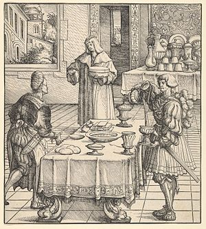 Weisskunig - The White King Learning to Conduct a Kitchen, woodcut by Hans Burgkmair