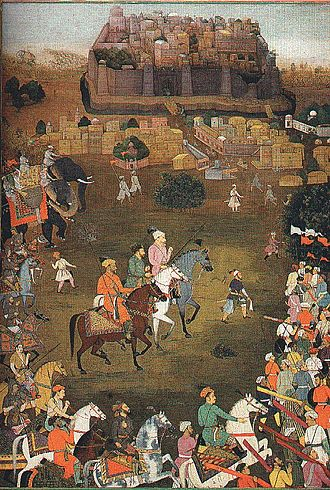 Padshahnama - Image: The capture of Orchha by imperial forces (October 1635)