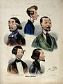 The heads and shoulders of five male hair-dressers. Coloured Wellcome V0019873.jpg