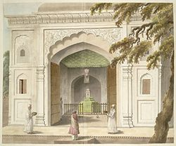 An old Painting of the dargah of ruler of Rohilkhand, Sardar Hafiz Rahmat Khan