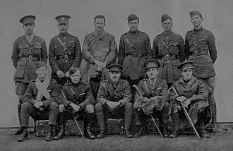 Francis Stewart Briggs - The original experimenters in Cloud Flying at Orfordness Test and Experimental Station in 1917. Standing (left to right) : 2nd Lieut. Weller, Capt. Bell, Staff-Captain Bouidillon, Lieut. Barrett, Lieut. McKerrow, 2nd Lieut. Troubridge. Sitting (left to right) : 2nd Lieut. Briggs, 2nd Lieut. Horwood, Lieut. Fairburn, Lieut. Montmorency, Lieut. Duncan