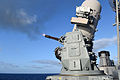 The starboard side Mark 15 Phalanx close-in weapons system aboard the guided missile cruiser USS Vicksburg (CG 69) fires 20 mm rounds during a calibration live-fire exercise in the Atlantic Ocean Sept 140924-N-WW127-366.jpg