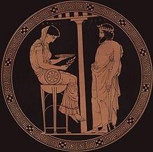 Egeo, mitico re di Atene, consulta la Pizia assisa sul bacile del tripode