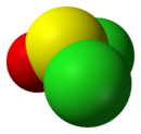 Space-filling model of thionyl chloride