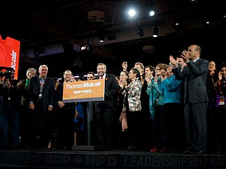 New Democratic Party - Thomas Mulcair gives his acceptance speech after winning the NDP Leadership on March 24, 2012