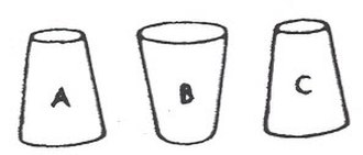 Three cups problem - The solvable version of the Three Cups Problem is shown here. In the impossible version, cups A and C are upright, and cup B is turned down.