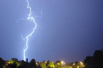 Lightning over Rymań town. Northern Poland.