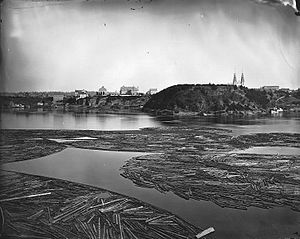 Economic history of Canada - Timber booms on the Ottawa River, Canada, 1872.