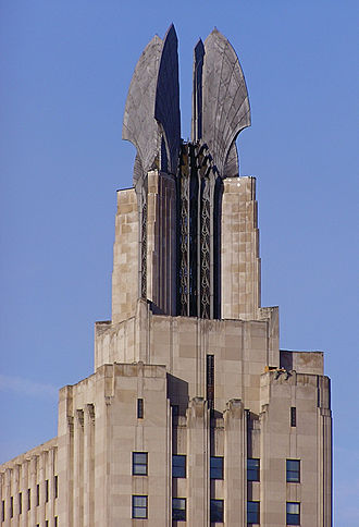 """Times Square Building (Rochester) - Detail of building showing """"The Wings of Progress"""""""