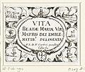 Titelblad voor de embleemserie 'Leven van Maria in emblemen' Vita Beatae Mariae Vir. Matris Dei Emblematibus delineata (titel op object) Leven van Maria in emblemen (serietitel), RP-P-OB-4903.jpg