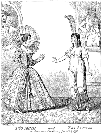 George Moutard Woodward - Caricature of the new-fangled neoclassical fashions of 1796, engraved after a drawing by Woodward