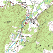A topographic map with contour intervals